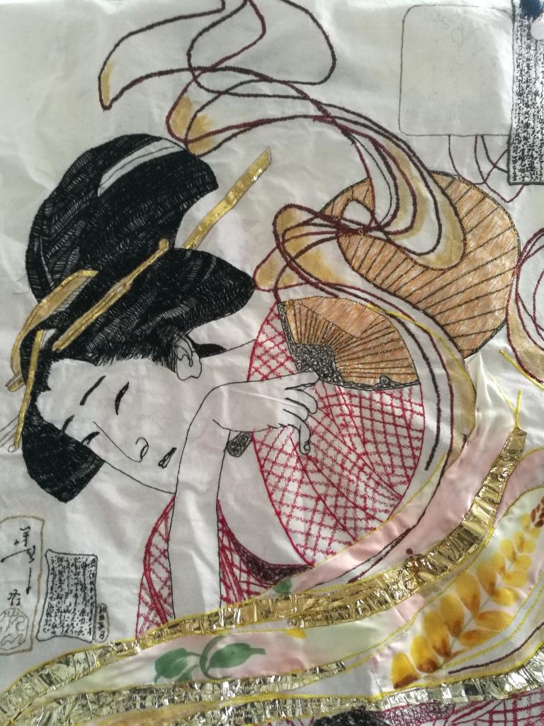 Hand stitched and machine stitched Geisha by Sarah -Alice Miles